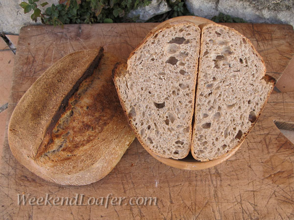 Pain au Levain with whole spelt and sesame seeds cut